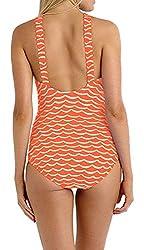FemPool Women Classic Tidal Wave Print High Scoop Neck Monokinis Swimsuit
