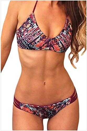 FQHOME Womens Vintage Floral Print 2pcs Bikini Swimsuit Size M