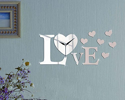 Love Heart Shaped Clock - Modern 3d Mirror Wall Decal Home Decoration for Living Room Bedroom Art Wall Stickers