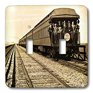 lsp_16238_2 Scenes from the Past Magic Lantern Slides - San Francisco Southern Pacific Railroad Caboose Sepia - Light Switch Covers - double toggle switch