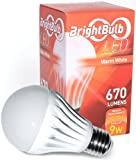 LED Light Bulb- 9W BrightBulb LED LightBulbs A19, High Efficiency, Lifetime Guarantee, Warm White (9W= 60-75W Incandescent, Non-Dimmable)