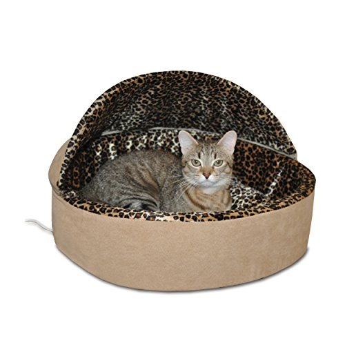 K&H Manufacturing Thermo-Kitty Bed Dlx Hooded Small Tan Leopard 16-Inch 4 Watts