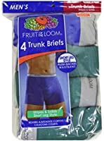 4 In A Pack Fruit Of The Loom Men's Trunk Briefs Short Leg Style