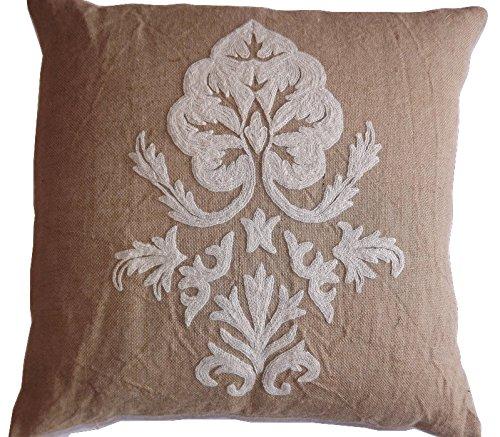 Crewel Pillow Sham Konark White On Natural Brown Jute (Euro, 26x26)