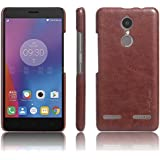 First 4 Cover For Lenovo K6 Power Leather Back Cover (Brown)