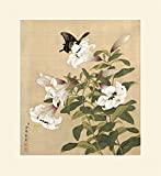"""INK WASH Famed Ready to Hang Giclee Prints Asian Calla Lily Flowers Wall Decal White Lily Painting Flower Wall Art for Law Office Decorations 19""""x20"""""""
