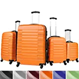 Vojagor® TRSE05 4 Pc Suitcase Set DIFFERENT COLOURS (Orange)
