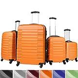 Lot de 4 valises rigides Trolley - Orange - serrure à combinaison 3 chiffres intégrée - poignée télescopique - DIVERSES COULEURS AU CHOIX