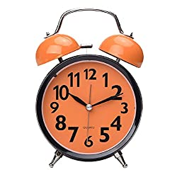 Maytime Quartz Analog Retro Vintage Simple Non-Ticking Twin Bell Alarm Clock With Loud Alarm and Nightlight 4.5 Orange