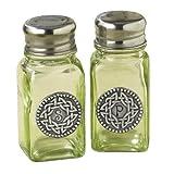 Grasslands Road Celtic 3-3/4-Inch By 1-3/4-Inch Pewter Embellished Green Glass Salt And Pepper Set
