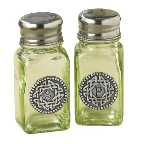 Grasslands Road Celtic 3-3/4-Inch by 1-3/4-Inch Pewter Embellished Green Glass Salt And Pepper Set (Salt And Pepper Shakers Green compare prices)