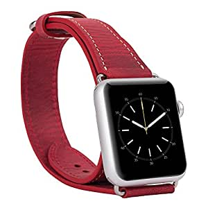 Apple Watch Band Burkley Case Genuine Leather Watch Band Strap Bracelet Replacement Wrist Band With Adapter Clasp for iWatch Apple Watch & Sport & Edition- Double Tour 42mm (Antique Red)