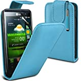 (Baby Blue) LG Optimus 2X P990 Protective Faux Leather Flip Case Cover Skin, Retractable Capacative Touch Screen Stylus Pen & 3 Screen Protector Guard By *Aventus*