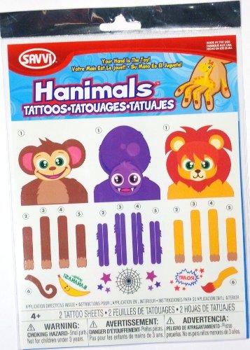 Hanimals Hand Puppet Temporary Tattoos - 1
