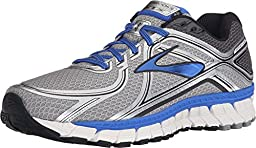 Brooks Men\'s Adrenaline GTS 16 Silver/Electric Brooks Blue/Black Sneaker 12 4E - Extra Wide