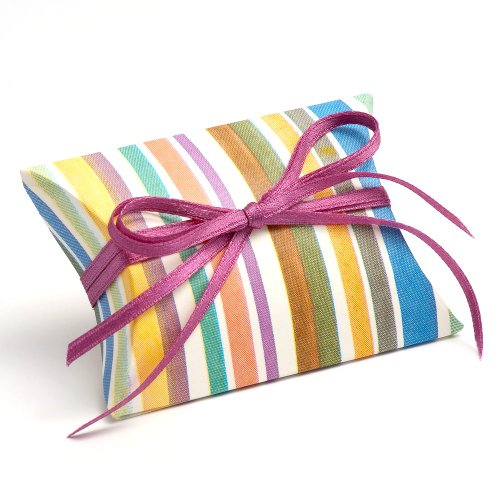 10 Small Multi-Colored Stripe Favor Box / Pillow Box / Gift Box - Decorations not Included