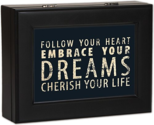 Typography Follow Your Heart Matte Black Finish Jewelry Music Box - Plays Wonderful World