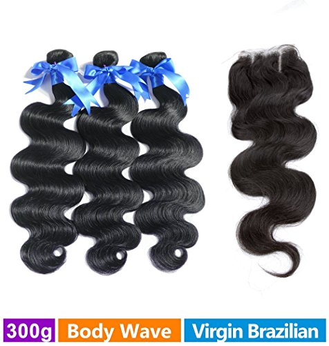 Rechoo Brazilian Virgin Remy Body Wave Hair 3 Bundles 300g with 4x4 Lace Closure Human Hair Extensions Bundles with Three Part Closure(10 10 10+10)