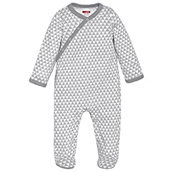SkipHop-Baby Newborn Petite Triangles Side Snap Footie, Grey, 9 Months
