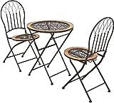 ロゼッタ アイアンガーデンファニチャー テラコッタ テーブル・チェア 3点セット 折りたたみ式 PL03-3PSET