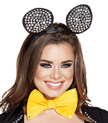 Sexy Black Rhinestone Halloween Mouse Ears - Black - One Size