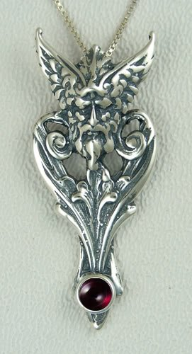 Mercury Beautifully Done in Sterling Silver Accented with Genuine Garnet Made in America