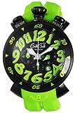 [ガガミラノ]GaGa MILANO 腕時計 クロノ48mm ブラック文字盤 ステンレス(BKPVD)ケース ラバーベルト 100M防水 クロノグラフ デイト 6054.2 RUBBER-GRN メンズ 【並行輸入品】