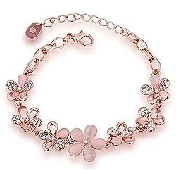 Shining Diva Fashion Rose Gold Crystal Charm Bracelet for Girls