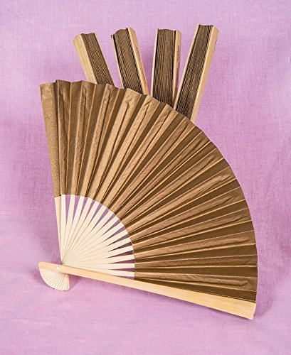Luna Bazaar Handheld Folding Paper Fans (9-Inch, Gilt Gold, Set of 5) - In the Style of Chinese, Japanese, Spanish Fans - For Personal Use and Weddings