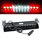 Wecade® 12w 12 Leds Car Truck Emergency Strobe Flash Light Windshield Warning Light (Red/White/White/Red)