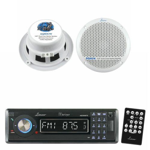 Lanzar Marine Receiver And Speaker System Package For Your Boat, Pool, Deck, Patio, Etc. - Aqcd60Btb Am/Fm-Mpx In-Dash Marine Detachable Face Radio Cd/Sd/Mmc/Usb Player & Bluetooth Wireless Technology - Aq5Dcw 300 Watts 5.25'' Dual Cone Marine Speakers (W