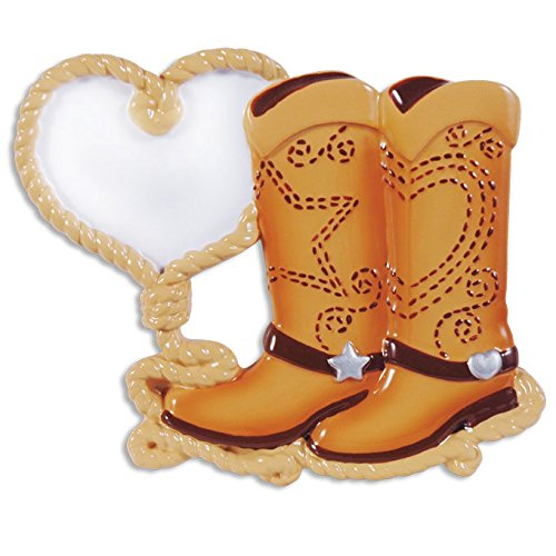 PERSONALIZED CHRISTMAS ORNAMENTS COUPLES- COWBOY BOOT COUPLE