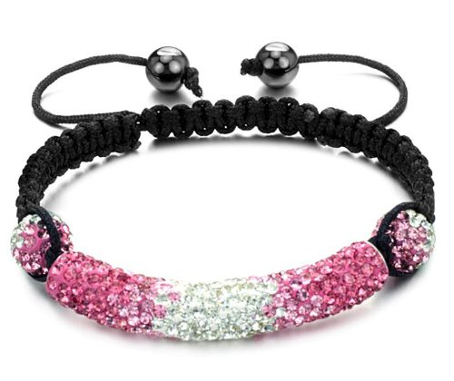 Stylish Swarovski Crystal Shamballa Bracelet for Women and Men Pink and Clear Shamballa Tube and Beads with Changing Color
