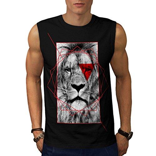 geometrico Leone Reale Rosso Uomo Nuovo Nero L T-Shirt Senza Maniche | Wellcoda