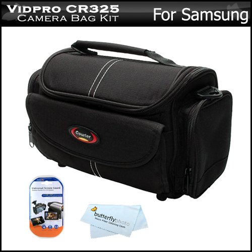 Deluxe Rugged Camcorder Bag / Case For Samsung Hmx-H300, Hmx-H304, Hmx-Q10, Smx-F44, Smx-F50, Smx-F54, Hd Camcorder + Lcd Screen Protectors + Microfiber Cleaning Cloth