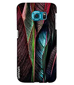 Omnam Coloful Leaves In Red Printed Designer Back Cover Case For Samsung Galaxy S6 EDGE