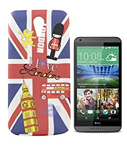 Exclusive Rubberised Back Case Cover For HTC Desire 620G Dual Sim - I Love London