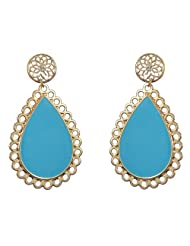 Modish And Perfect Blue And Gold Due Drop Earrings For Women