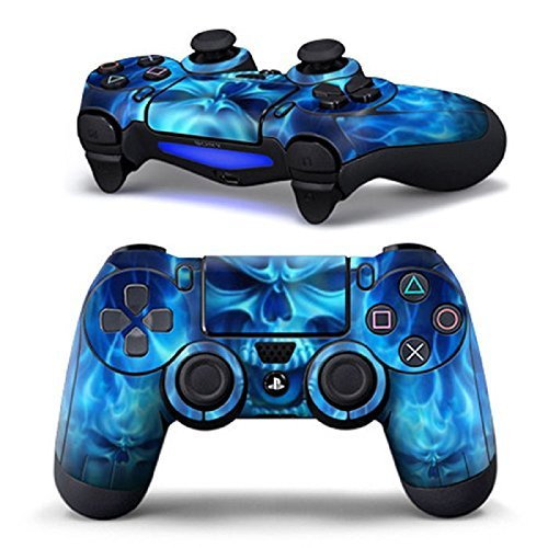 Blue-Flame-Skull-Controller-Only-Skin-for-PS4