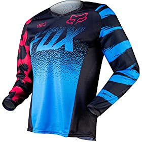 Fox Racing 180 Youth Girls Off-Road Motorcycle Jerseys - Blue/Red / Large