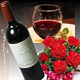 送料無料!母の日限定♪チリ・赤ワインとカーネーション