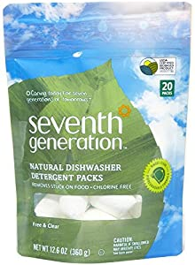 Seventh Generation B66454 Seventh Generation Natural Dishwasher Detergent Pacs, Free & Clear -12x20ct