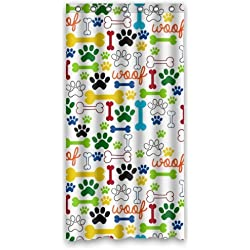 Dog Paws And Bones Pattern Bathroom Shower Curtain Rings Included 100 Polyester