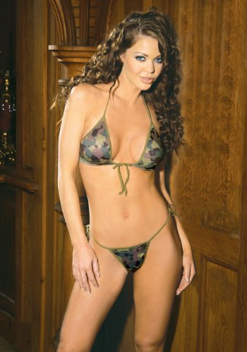 Camouflage Pattern One Size G-String and Bra
