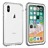 iPhone X Waterproof Case, Vapesoon Waterproof Shockproof Snowproof Clear Slim Armor Case for iPhone X (Grey-White/transperant)