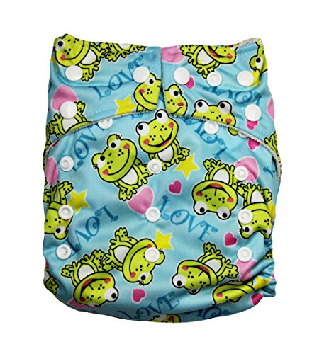 "Kawaii Baby One Size Organic Bamboo Terry Cloth Diaper with 2 Bamboo Inserts ""Frog"""