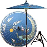 Victory of the Peacock 7 Foot Patio Umbrella With Base -Blue
