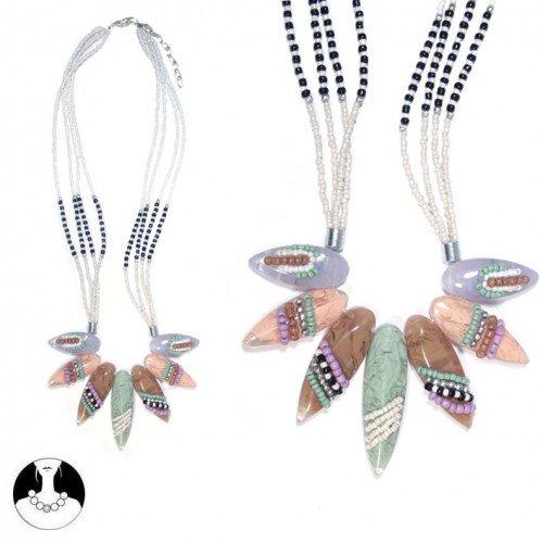 sg paris women necklace necklace 50 cm 4 rows multicolor pastel resin