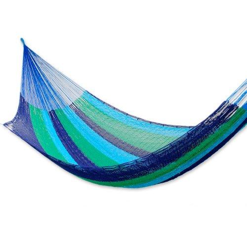 Cotton hammock, 'Ocean Dreams' (double) – Fair Trade Mexican Cotton Striped Mayan Hammock