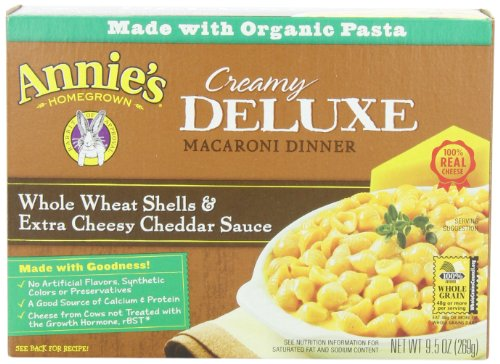 Annie's Homegrown Deluxe Whole Wheat Shells & Extra Cheesy Cheddar, 9.5-Ounce Boxes (Pack of 12) (Whole Grain Mac And Cheese compare prices)